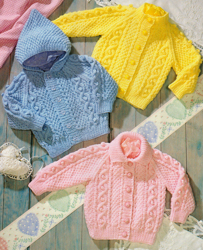 Aran Knitting Pattern With Hood : Aran Baby Jackets Hood Collar Round Raglan Knitting ...