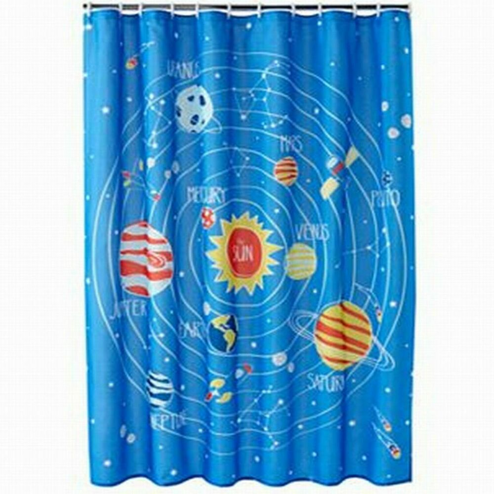 Jumping beans blue blast off space planets fabric shower for Space curtain fabric
