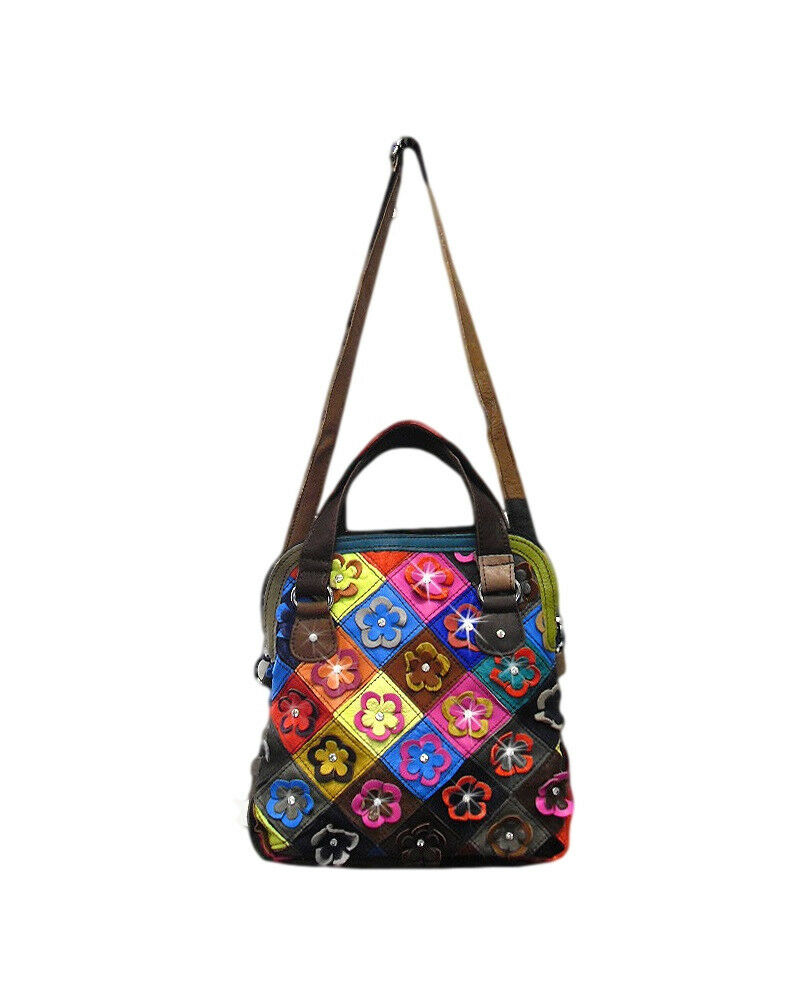 Genuine Leather Multi Color Patchwork Flower 2 Way Strap
