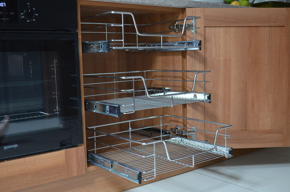 Pull out wire basket for kitchen cabinet base unit larder for Kitchen base unit shelf