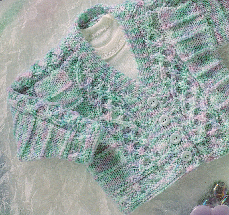 Baby Cardigan with Celtic Entwined Cable ~ DK -16