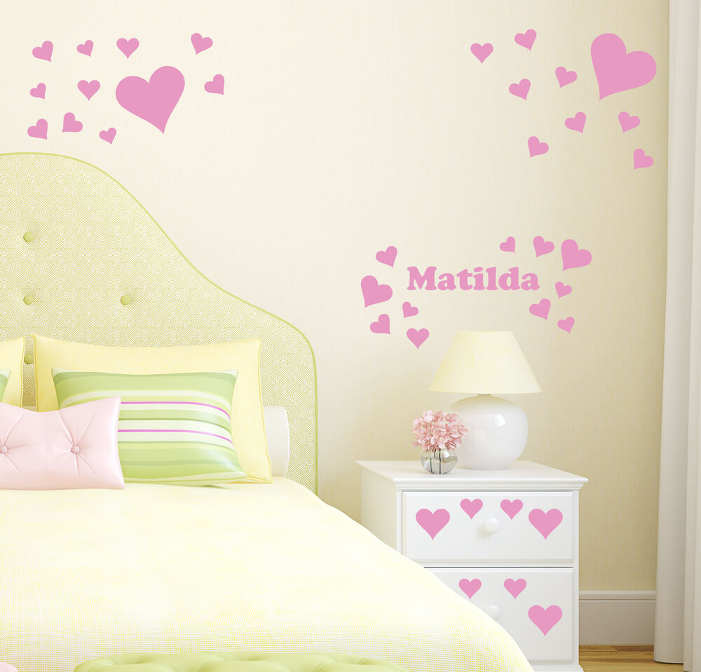 Hearts Personalised Wall Sticker Girl 39 S Bedroom Name Decal Transfer Decoration Ebay