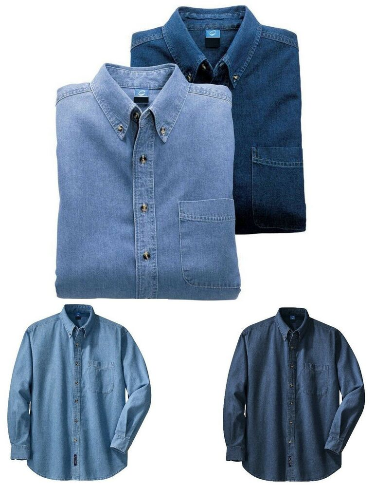 Denim jean shirt mid weight button down collar pocket for Mens 5x polo shirts