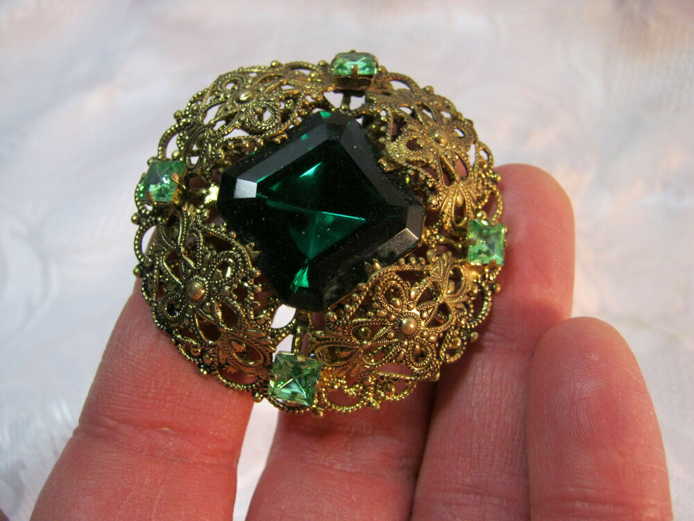 Large vintage green rhinestone flower brooch by weiss - Costume Jewelry Brooch Pin Car Interior Design