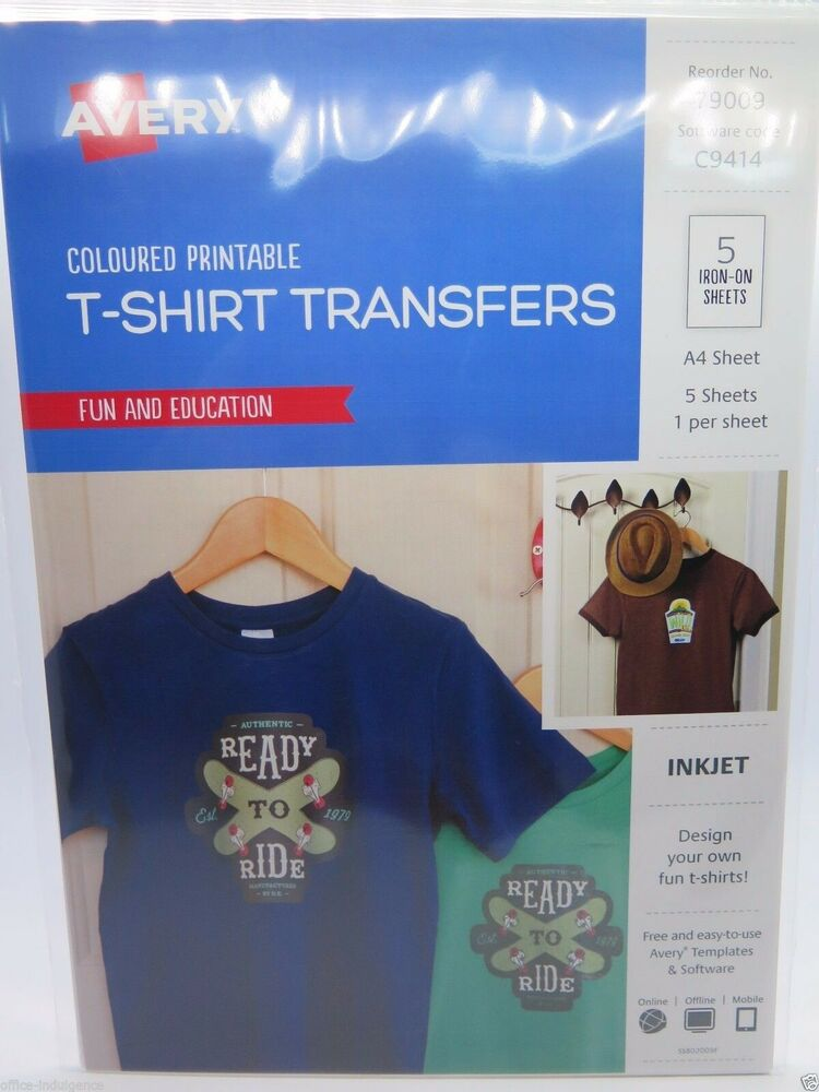 avery t shirt transfer inkjet a4 black or coloured shirts ij77 5