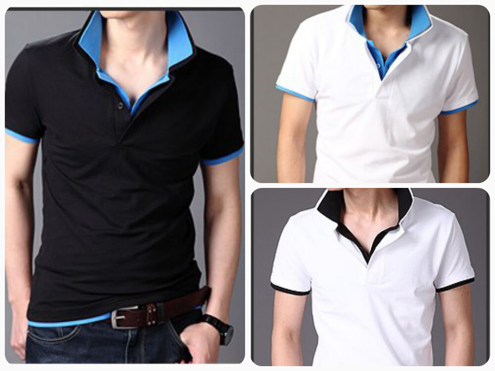 New mens double collar polos top pullover shirt short for Mens pullover shirts short sleeve