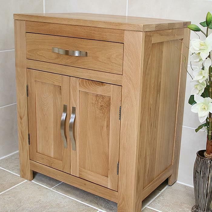 Bathroom furniture solid oak vanity cabinet cupboard storage unit 700mm ebay Wooden bathroom furniture cabinets