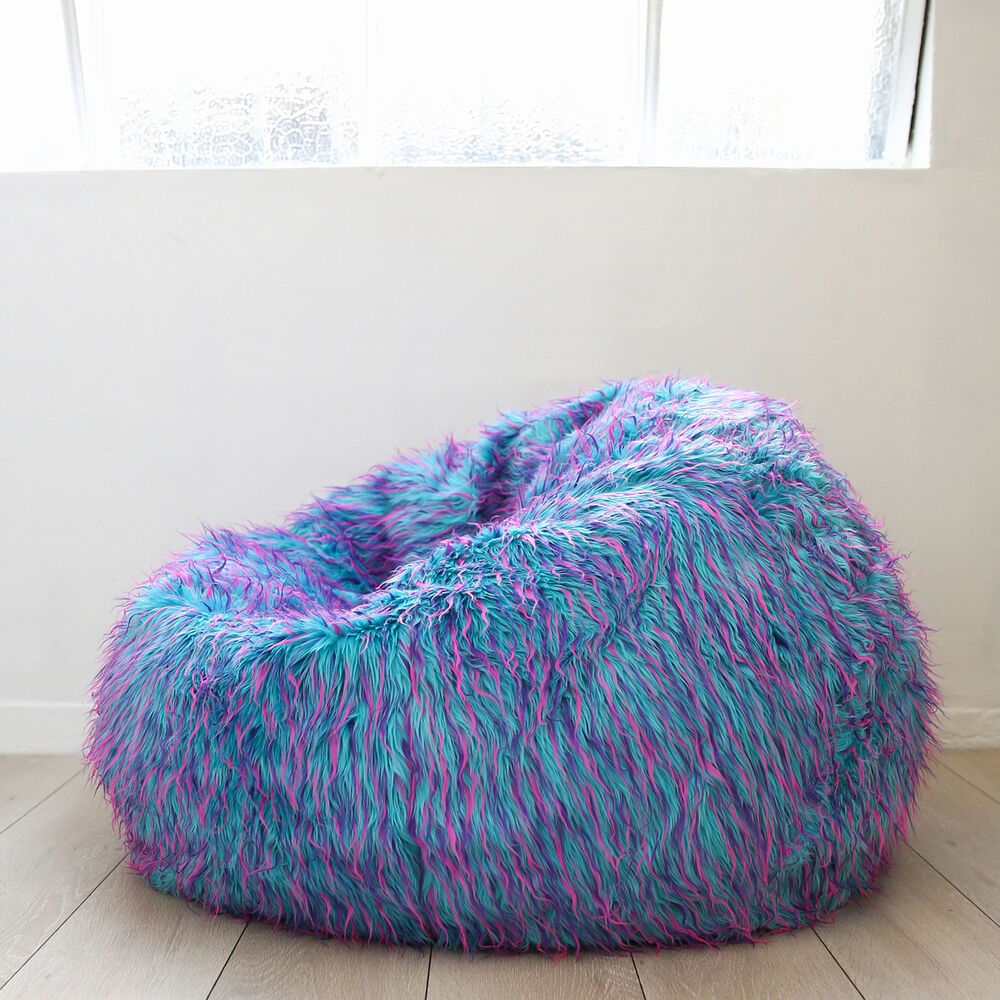 Large Shaggy Fur Beanbag Cover Blue Pink Cloud Chair Soft