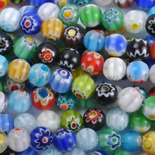 Mixed Round MILLEFIORI Glass Loose BEADS - Choose 4MM, 6MM & 8MM, 10MM & 12MM