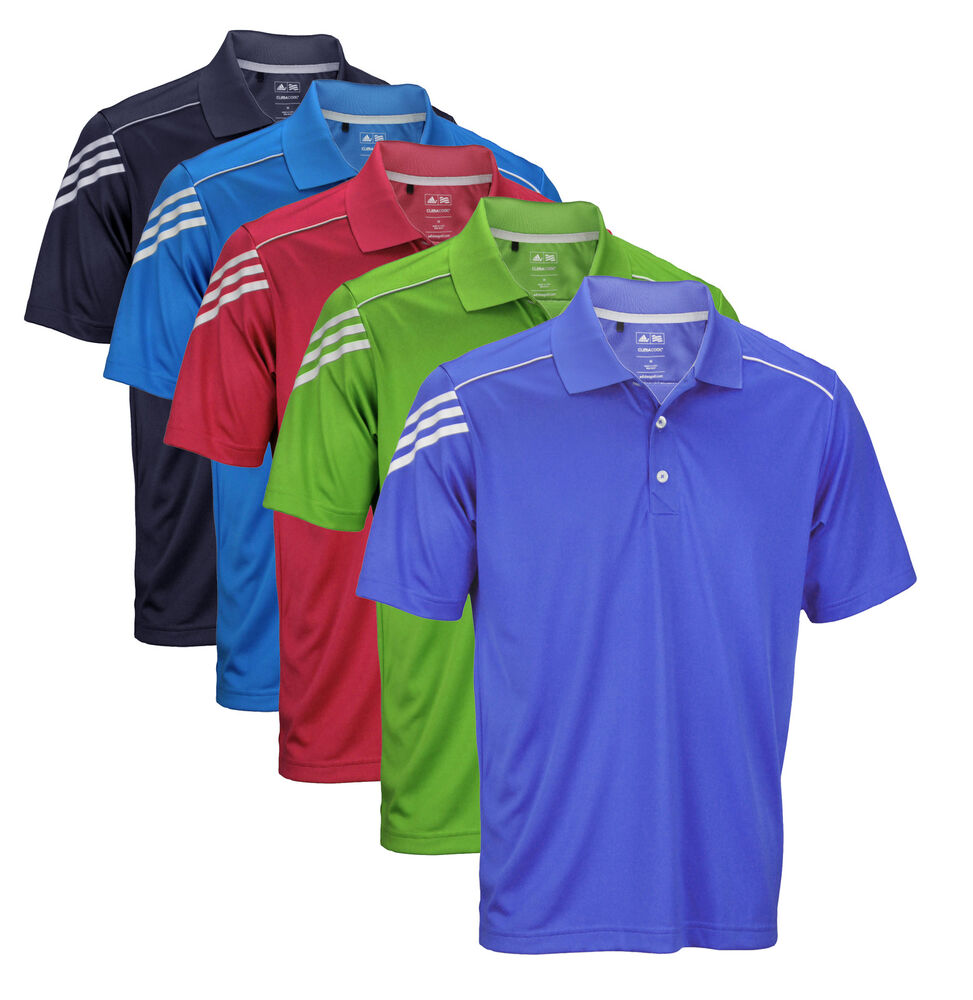 Adidas athletic men 39 s climacool 3 stripes polo shirt for Men s athletic polo shirts