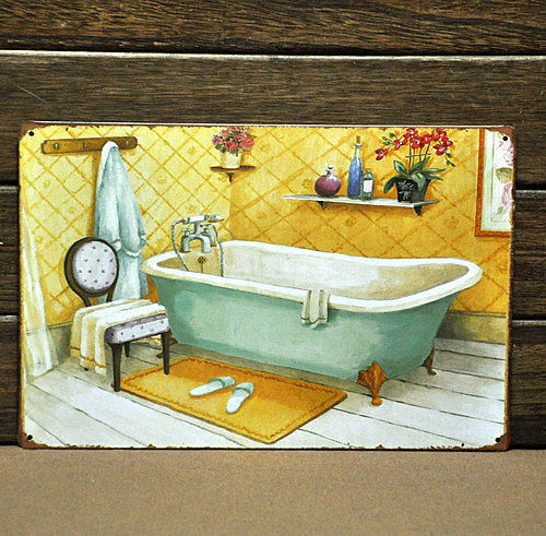 Warm bath metal poster vintage tin sign home bathroom for Paintings for bathroom decoration