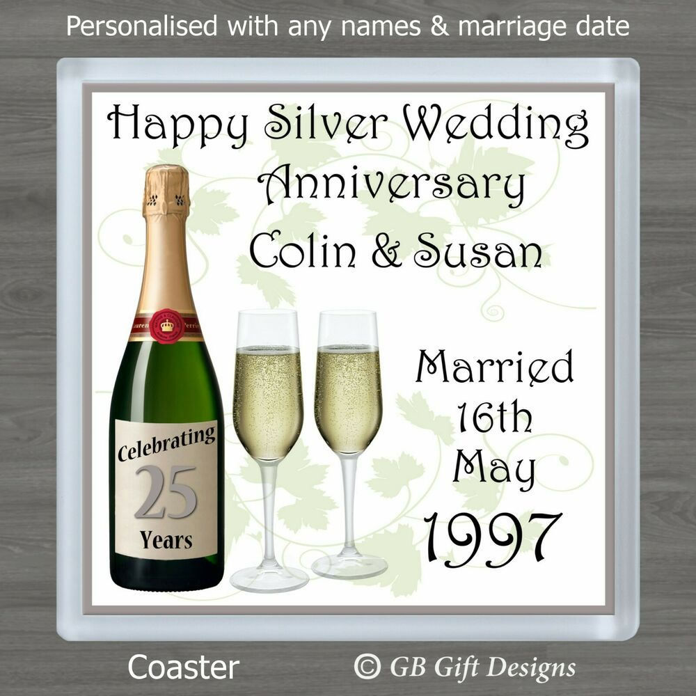 Gift Ideas For Silver Wedding Anniversary: PERSONALISED 25th SILVER WEDDING ANNIVERSARY DRINKS