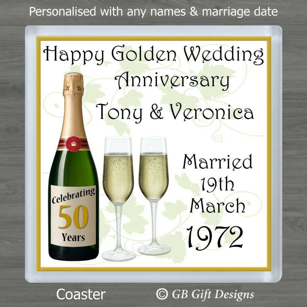 personalised 50th golden wedding anniversary drinks. Black Bedroom Furniture Sets. Home Design Ideas
