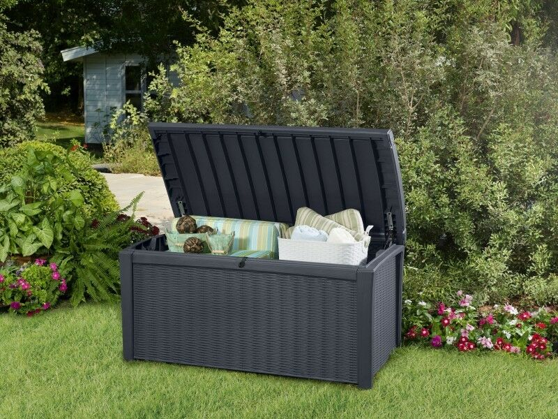 style plastic garden storage deck box 400 litre waterproof ebay