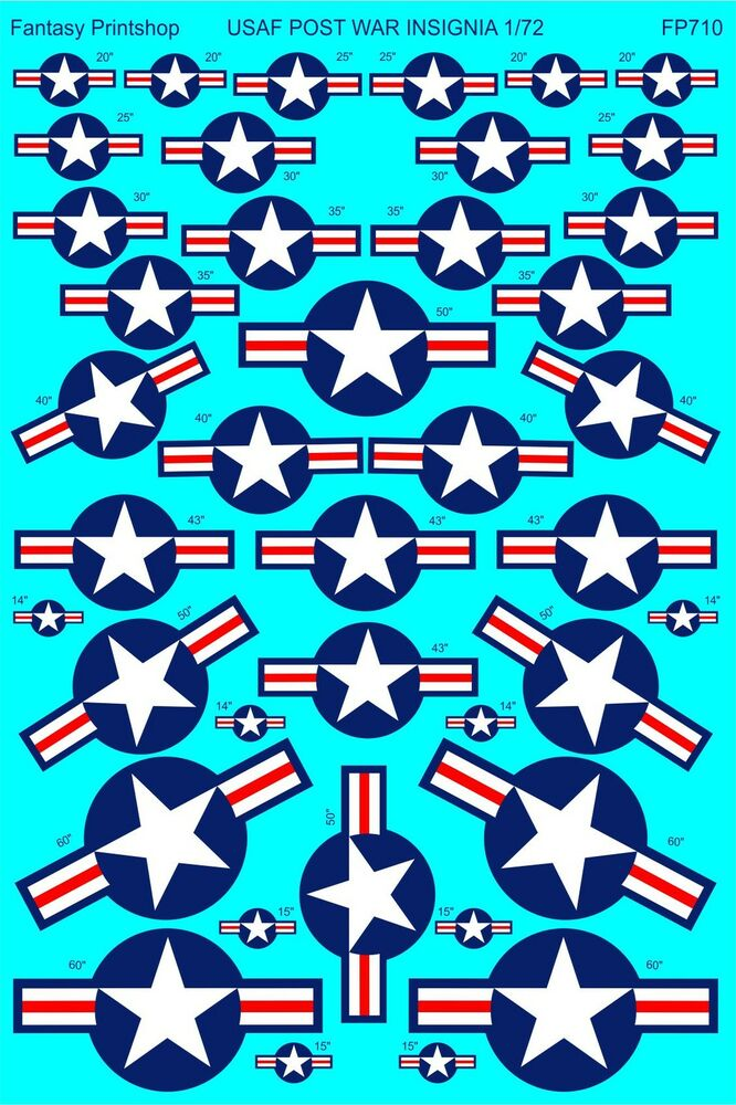 USAF POST WAR INSIGNIA STARS AND BARS DECALS PRINTED ...