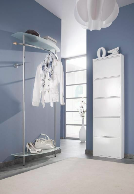 wandgarderobe mit ablagen garderobenleiste garderobe flurgarderobe metall glas ebay. Black Bedroom Furniture Sets. Home Design Ideas