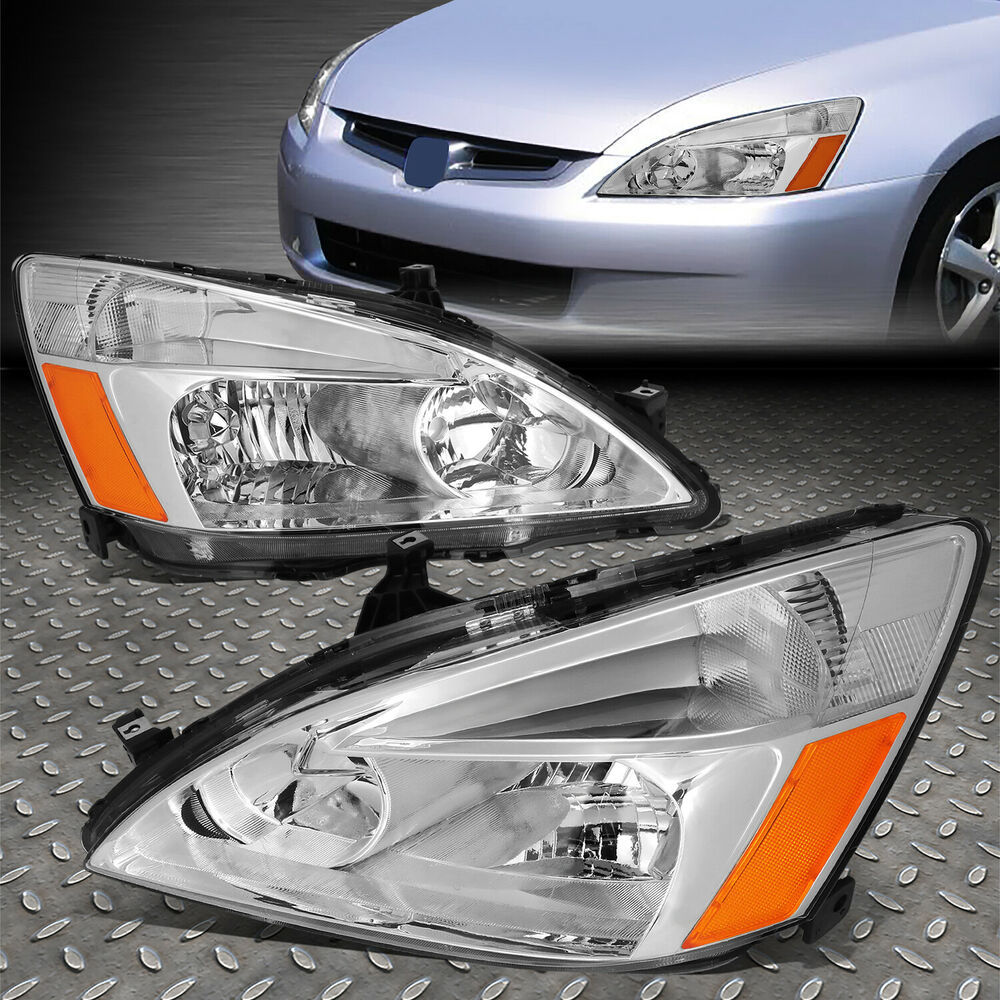 Fits 2003 2007 Honda Accord Uc1 Chrome Crystal Headlights
