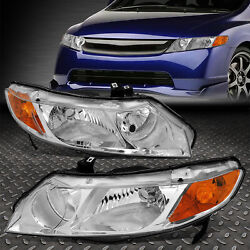 Kyпить FOR 06-11 HONDA CIVIC SEDAN PAIR CHROME HOUSING AMBER CORNER HEADLIGHT HEAD LAMP на еВаy.соm