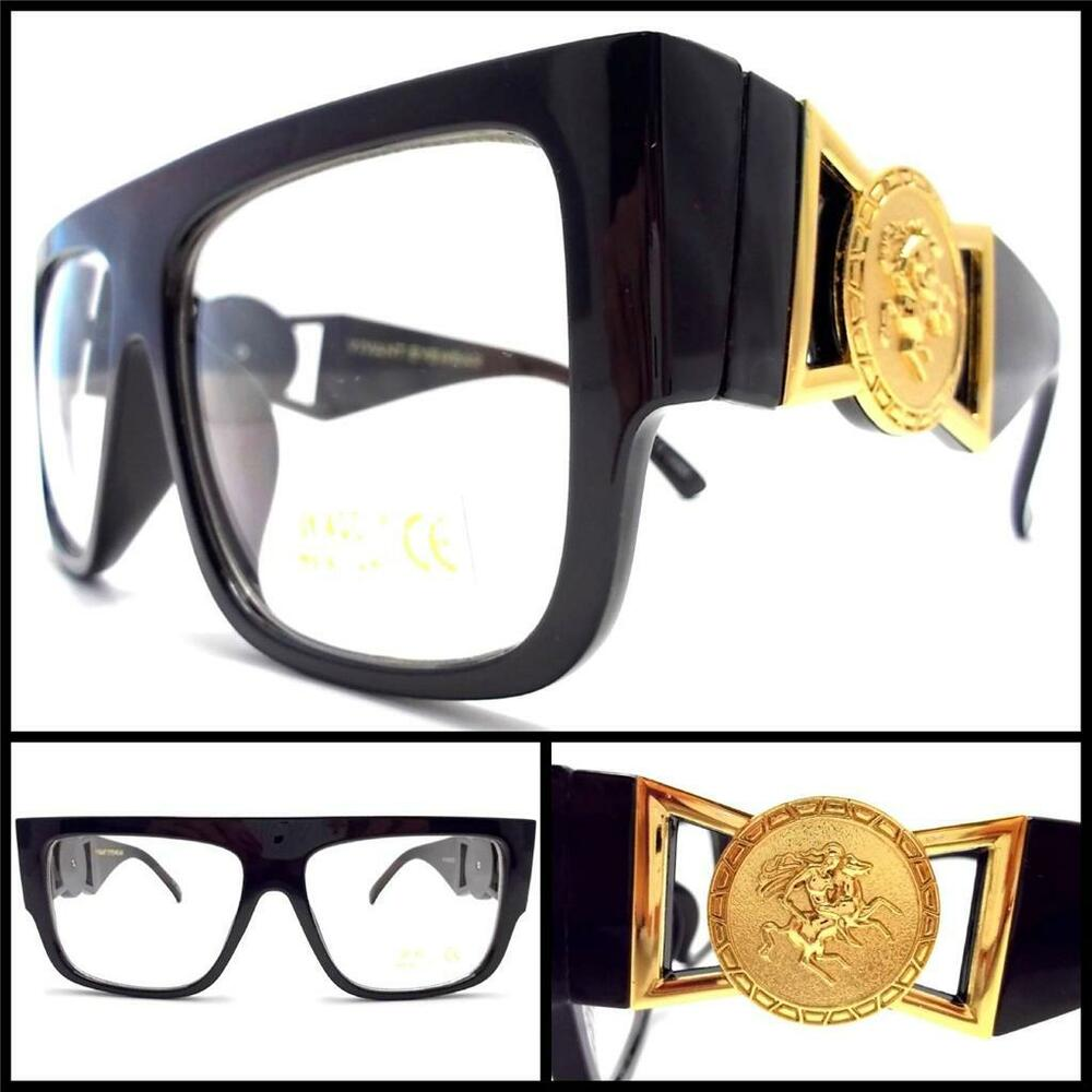 Black Frame Glasses With Gold : NEW RETRO VINTAGE STYLE HIP GLASSES Clear Lens Glossy ...