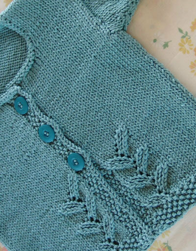 Little Baby Leaf Cardigan ~DK Knitting Pattern ~ 6 - 24 months