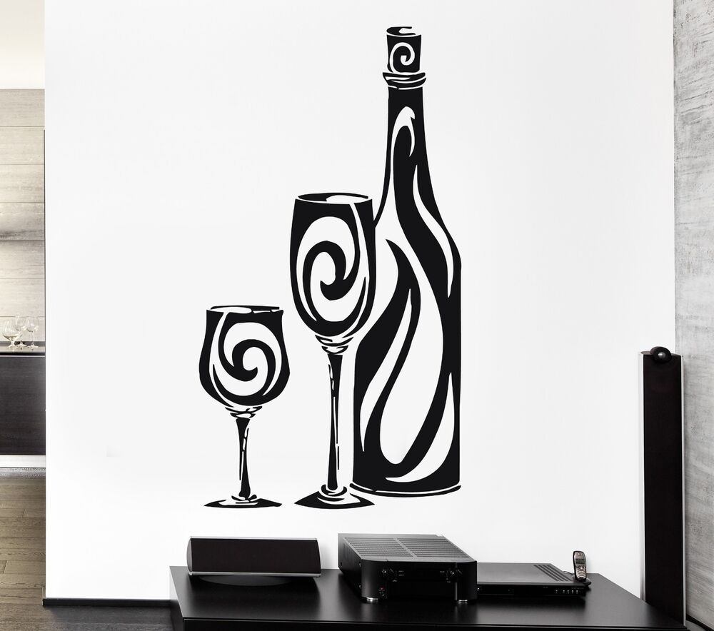 Wall Stickers Vinyl Decal Bottle Of Wine Glass Restaurant