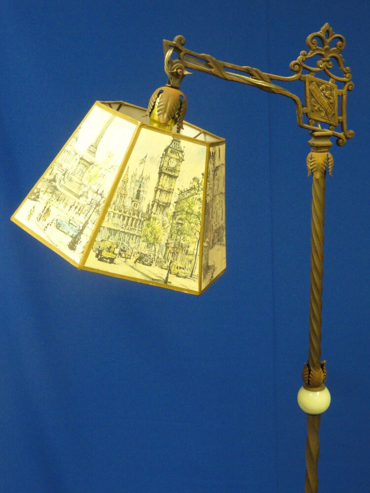 Chic Antique Brass And Onyx Footed Floor Lamp W Scenic
