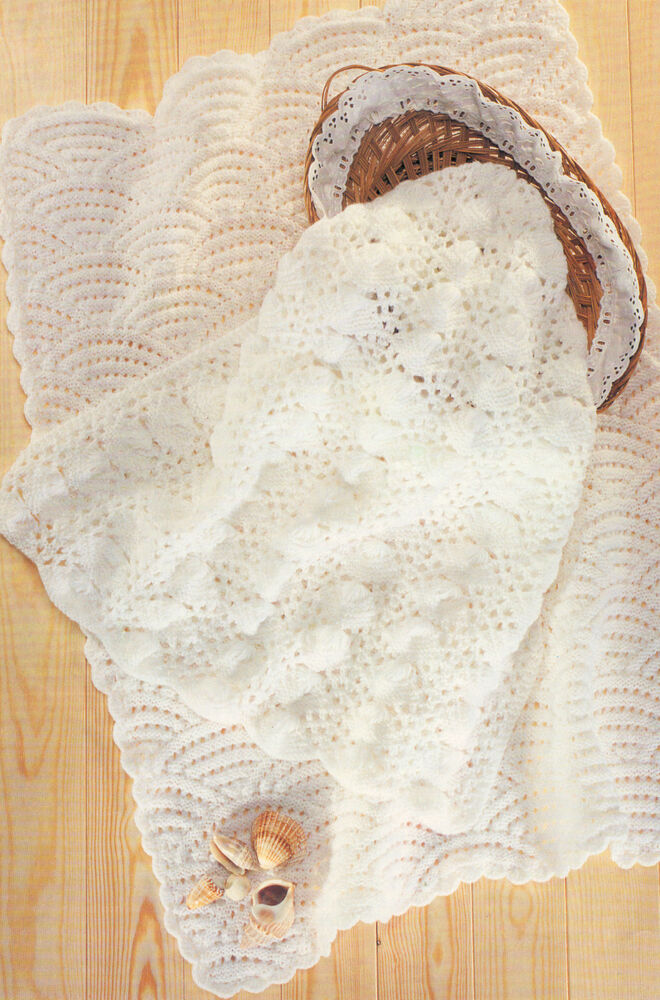 Seashell Knitting Pattern : Scallops & Sea Shell Baby Blankets DK Knitting Pattern eBay