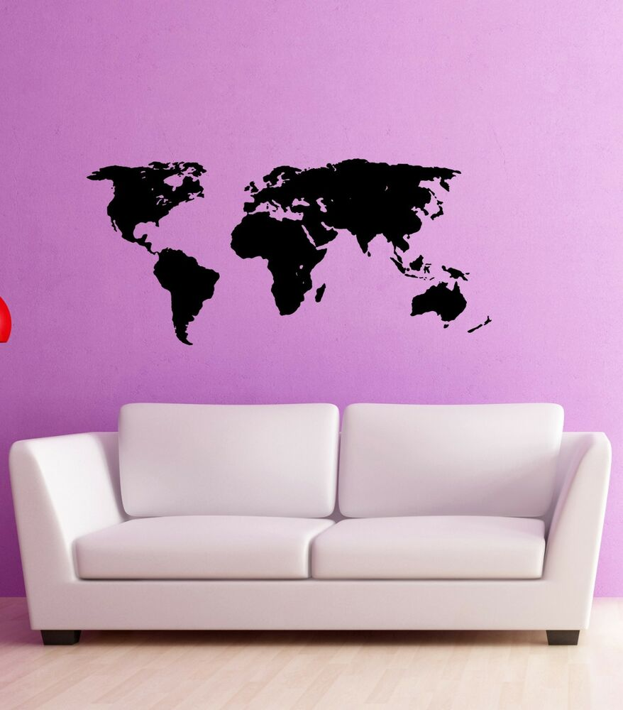 Wall Stickers Vinyl Decal World Map Atlas Travel Geography