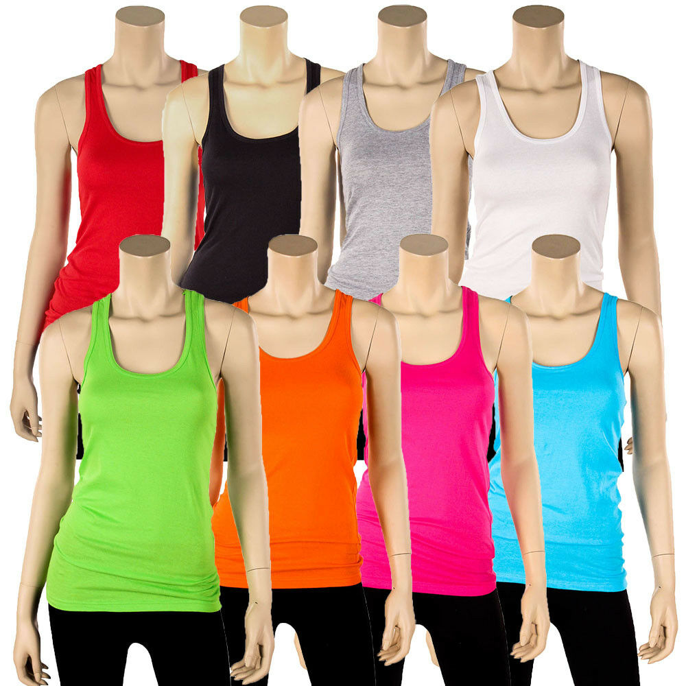 a17ac23fe8a0c2 Details about Womens 100% Cotton Racerback Tank Top Basic Cami Solid Tee  Shirt Workout S M L