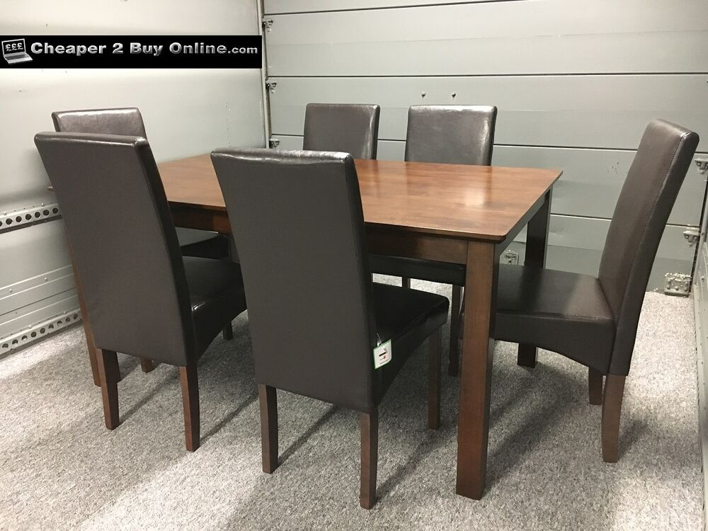 wooden dining table and 6 brown faux leather chairs dark oak walnut