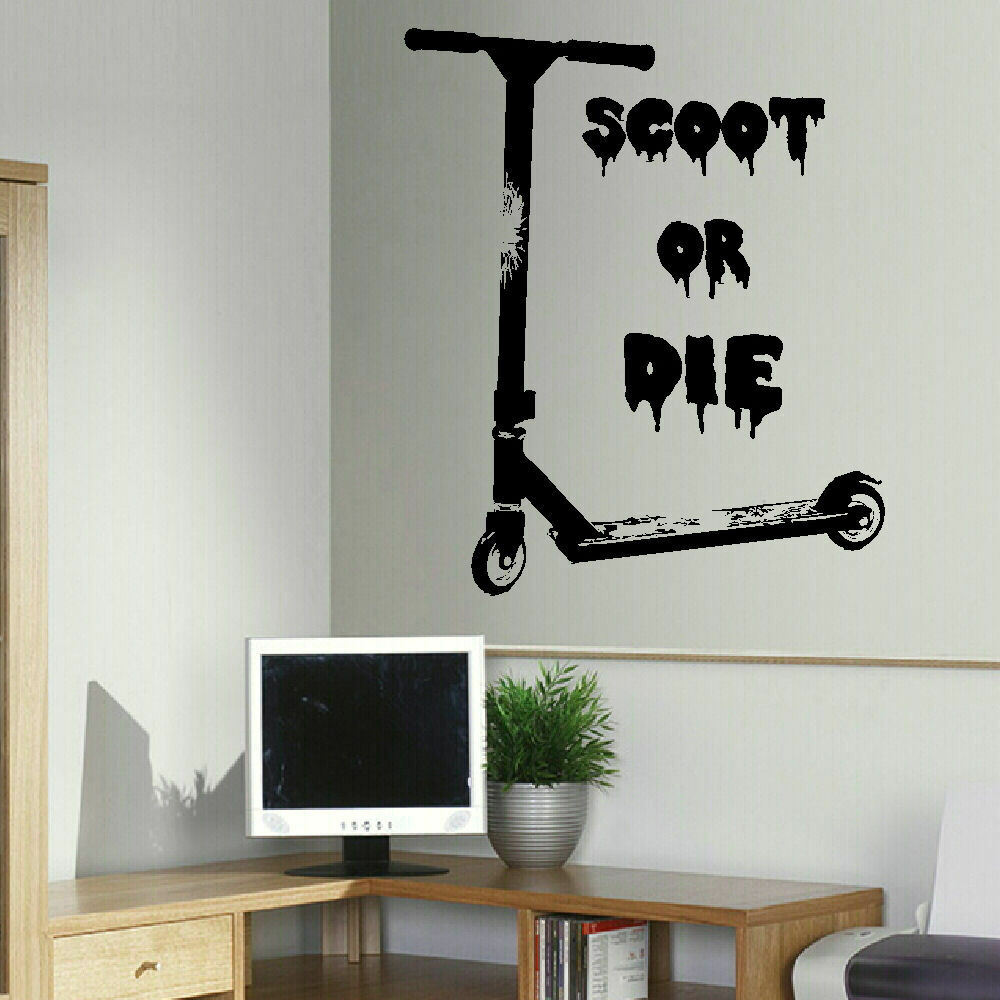 Wall Art Transfer Stickers : Large wall sticker of stunt scooter scoot or die uk art