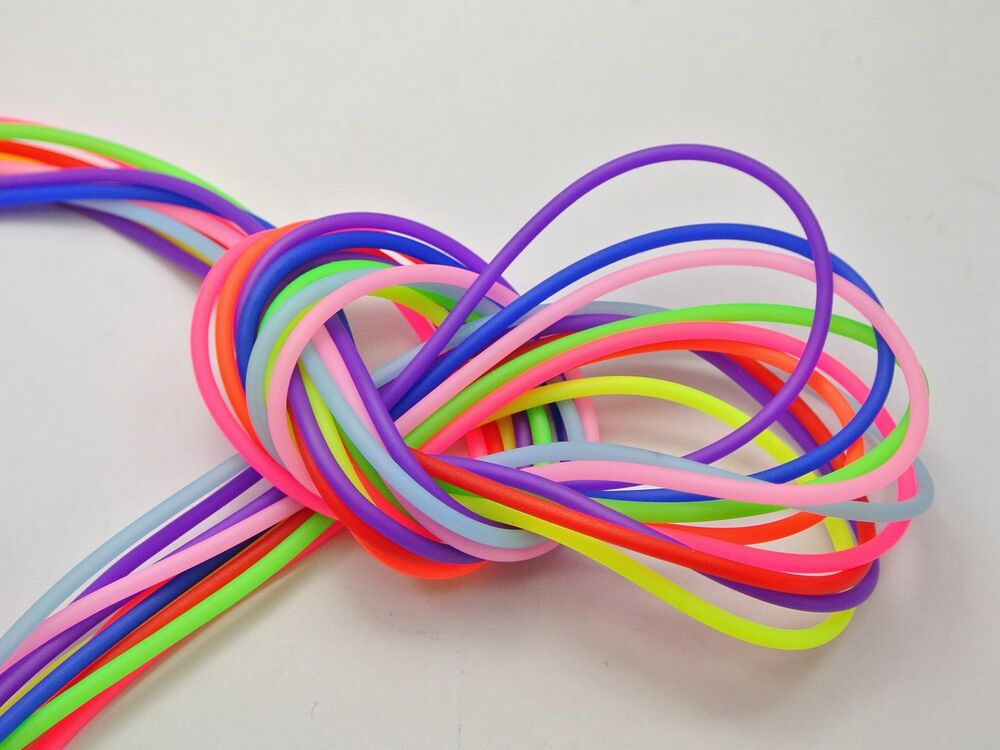 50 Meter Mixed Color 2mm Hollow Rubber Tubing Jewelry Cord