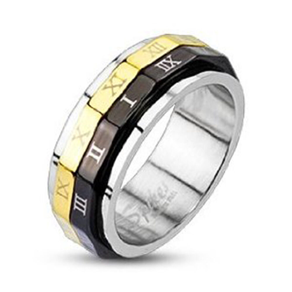 unique mens womens stainless steel black gold ip