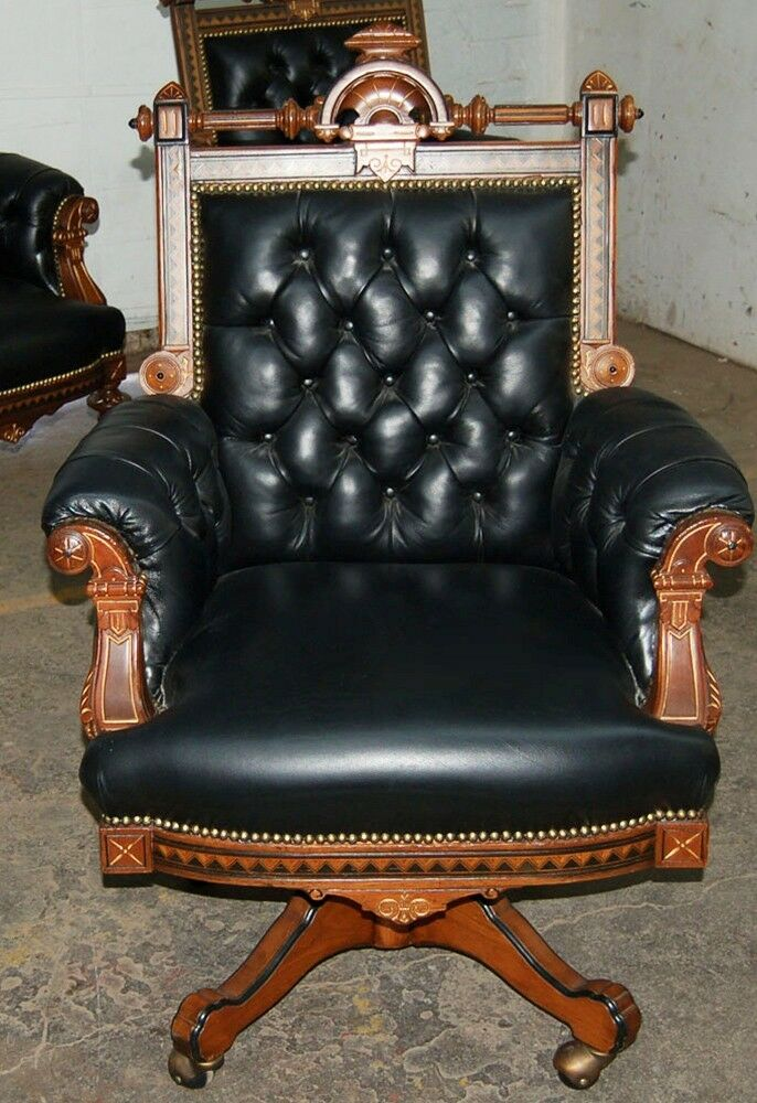 Victorian American Inlaid Swivel Chair By Hunzinger 1800