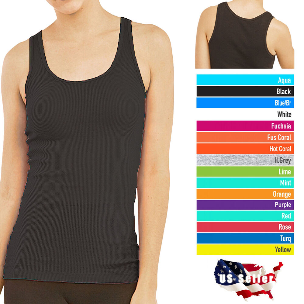Workout Tops: Womens Tank Top 100% Cotton Heavy Weight Ribbed A-Shirt