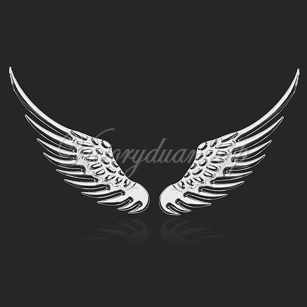 3d auto motorrad aufkleber engel fl gel wing emblem logo stiker metall silber ebay. Black Bedroom Furniture Sets. Home Design Ideas