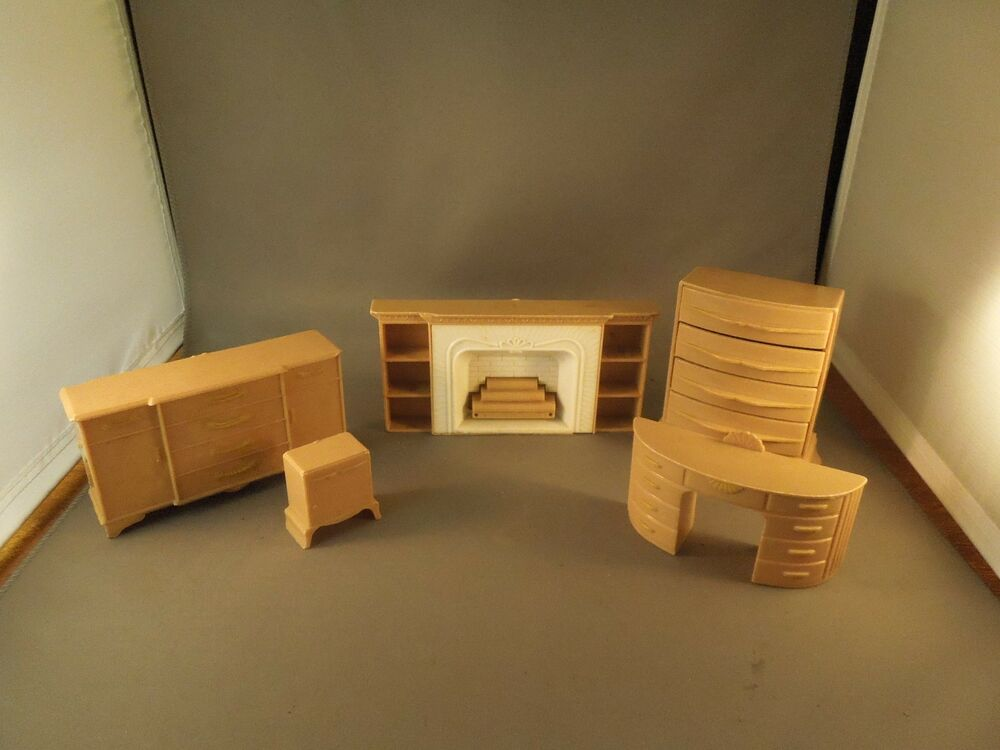 Lot of 5 vintage 1950s plasco plastic toy furniture living room bedroom sets ebay Plastic bedroom furniture