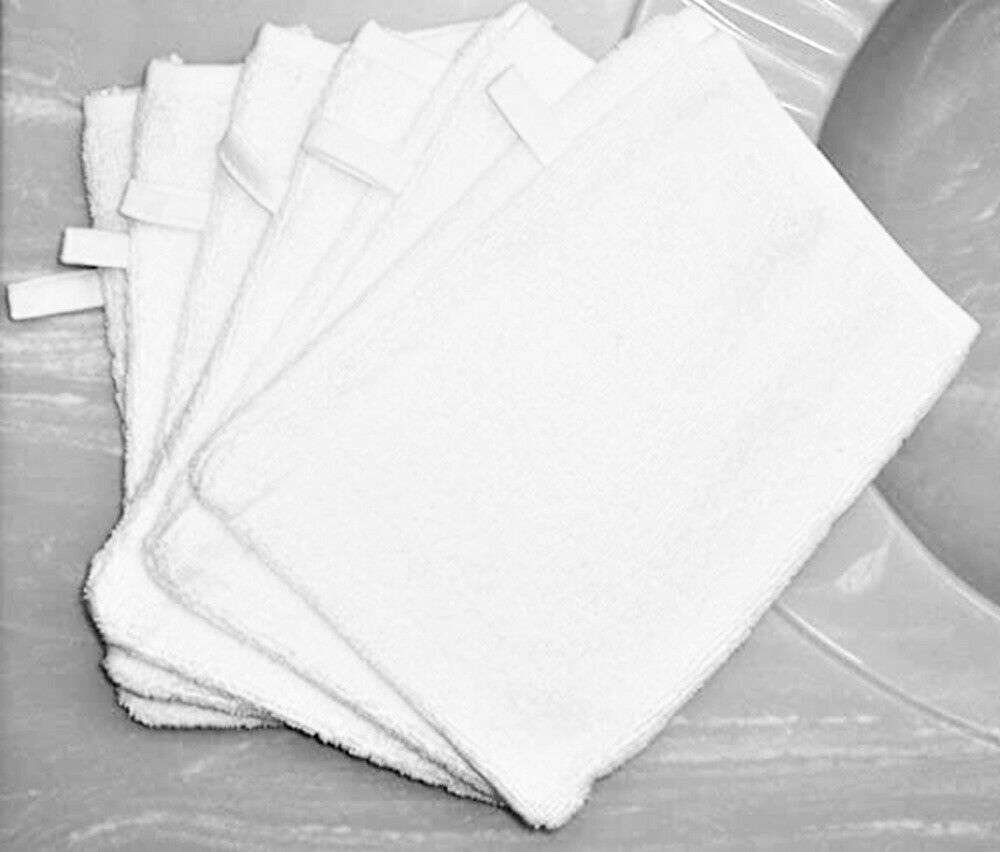 Bath Mitt Package Of 6 White W Sewn In Loop For Hanging A Great Value Ebay