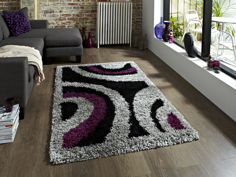 SMALL- EXTRA LARGE BLACK PURPLE GREY THICK SOFT RUG MODERN