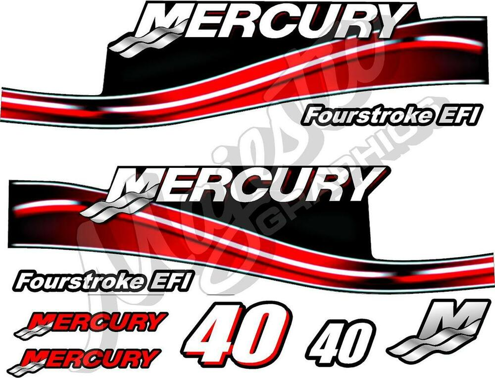 Mercury 40hp decal kit outboard decals ebay for Custom outboard motor decals