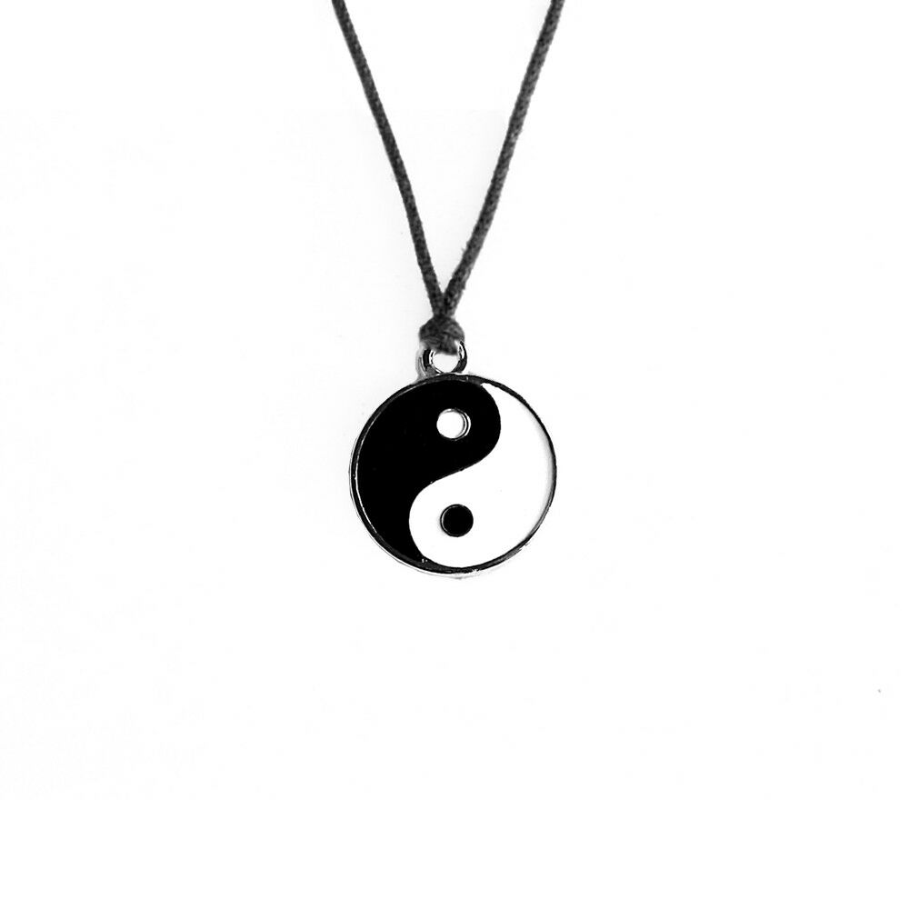 yin yang ying yang pendant black white necklace charm with