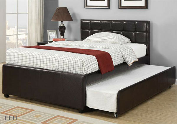 platform bed with trundle new adena contemporary espresso faux leather 16773