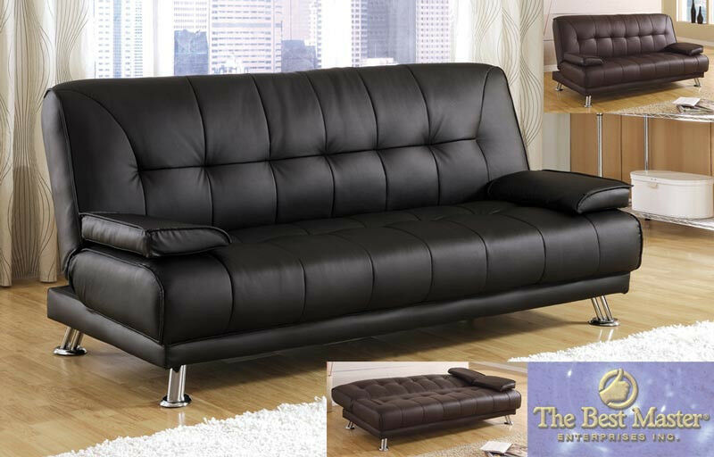 Black Brown sofa couch Futon sofa Bed Adjustable Leather