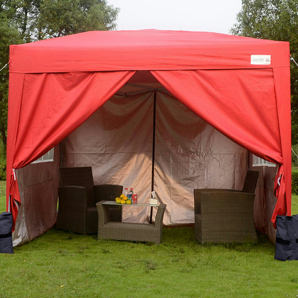 quictent 3 x 3m waterproof party pop up gazebo tent red. Black Bedroom Furniture Sets. Home Design Ideas