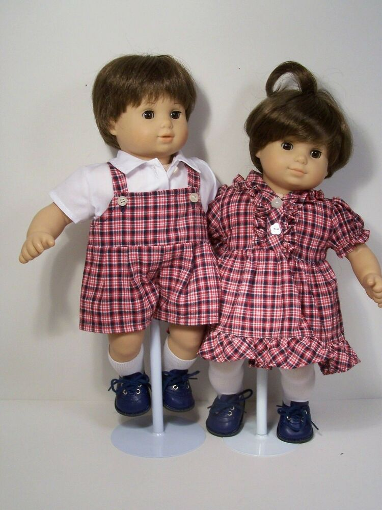 MATCHING Doll Clothes Boy Overall Shorts &Girl Dress For ...