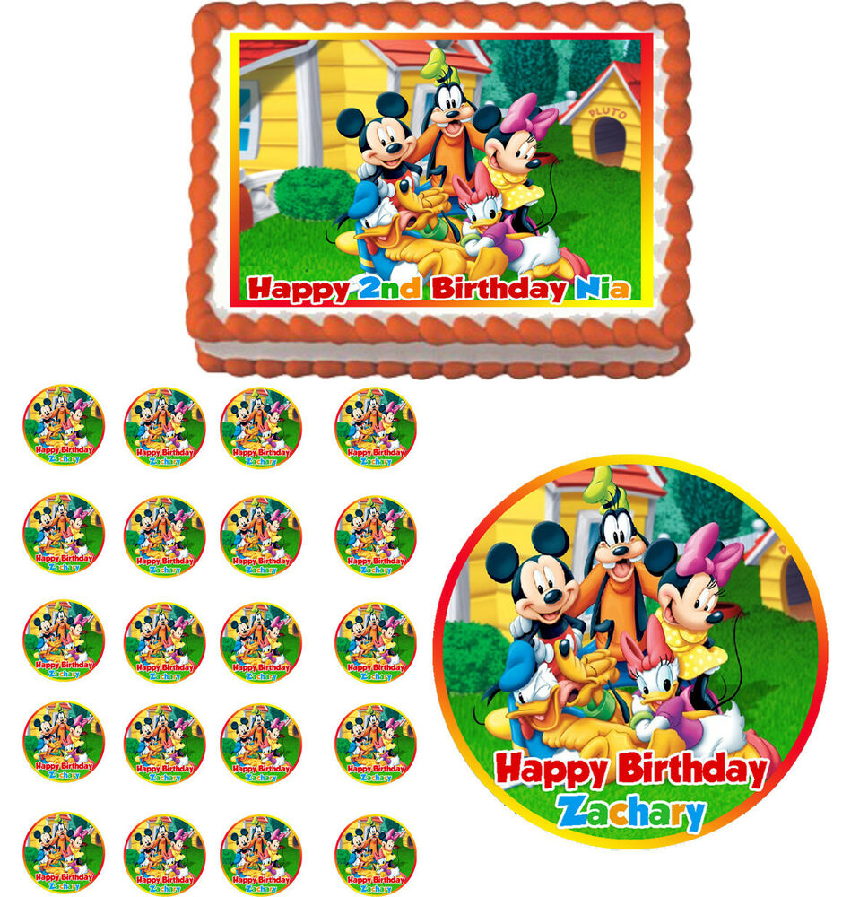 Mickey mouse clubhouse edible cake topper cupcake image for How to make edible cake decorations at home