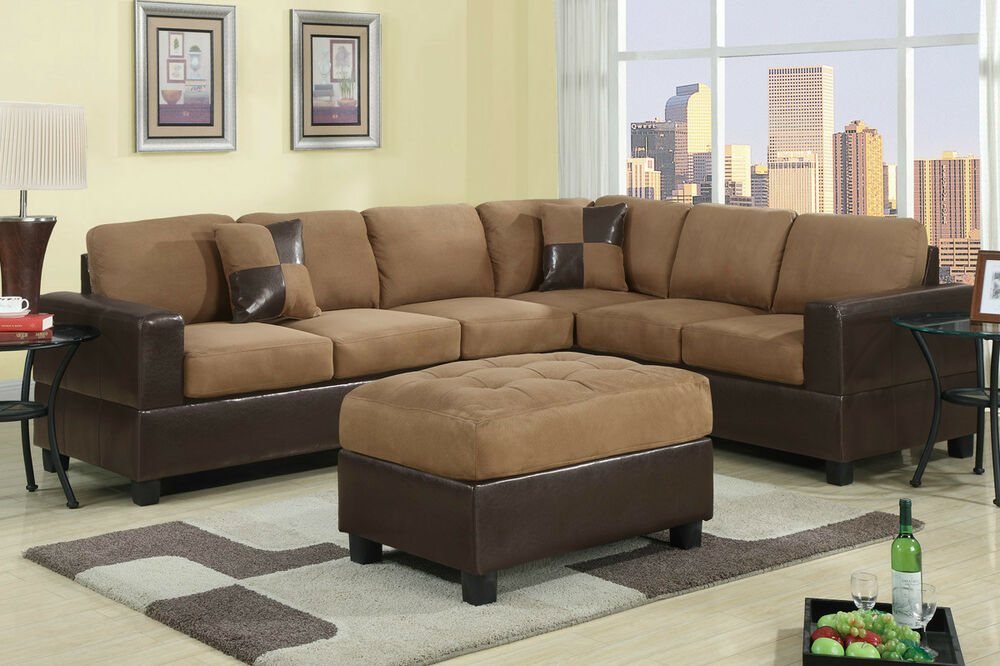 Bobkona hungtinton microfiber faux leather 2 piece for Microfiber faux leather 3 piece sectional sofa set