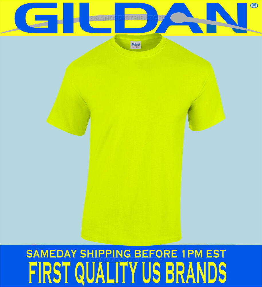 Gildan safety yellow green t shirt lot s xl ansi high for Neon colored t shirts wholesale