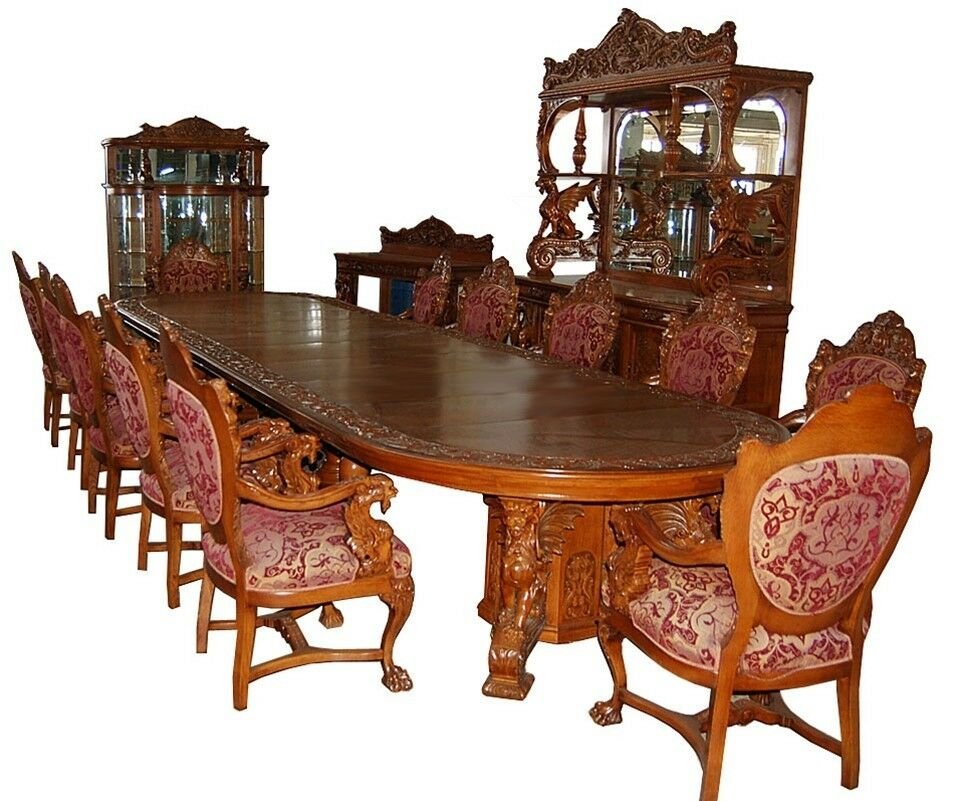 16 pc heavily carved oak winged griffin dining set by r j for Dining room tables 1940s