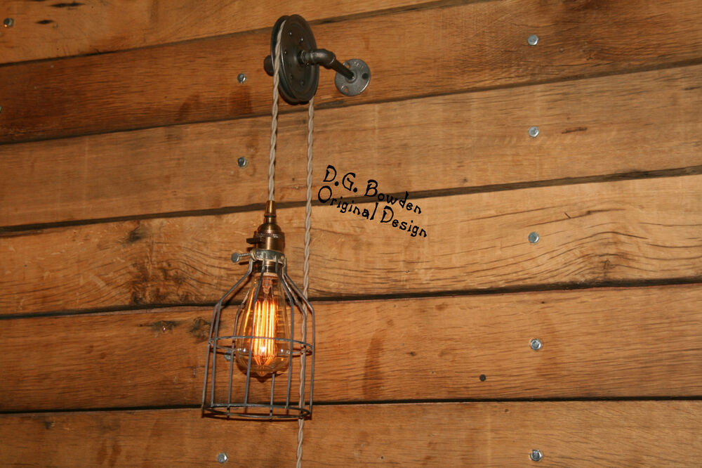 Pulley wall mount light industrial wall sconce pendant for Luminaire suspendu 3 lampes